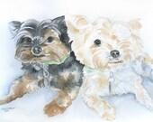 Watercolor Painting Custom Pet Portrait - of Two Animals - Original Art