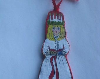 Santa Lucia, Handmade  Paper-Mache' Ornament