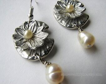 Pearl earrings dangle | drop | sterling silver | water lily | pewter | bridal