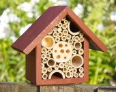 Single Tier Mason Bee House and Insect Hotel, Brown. Can be personalised