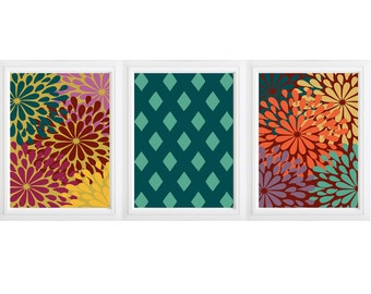 Rich colorful flowers and diamond patttern design digital home decor art - :) set of 3