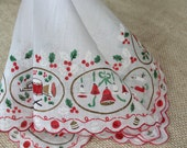 Vintage Christmas Hankie Handkerchief Bells Candles Drums Holly Red Green Gold