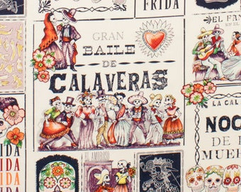 NEW Day of the Dead- Alexander Henry Baile de Calaveras 1 Yard Fabric