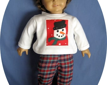 Julie Tennant Doll clothes 18 inch doll outfits will fit American Girl dolls, 18 inch doll pajamas, Christmas snowman pjs, 18 in doll pajama