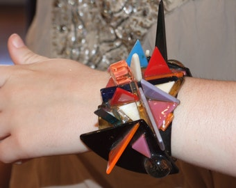 Triangular & Cubes Contemporary Cuff bracelets for self Defence