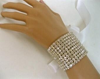 Rhinestone Bridal Bracelet,  Rhinestone Cuff, Formal Jewelry, Bridal Jewelry