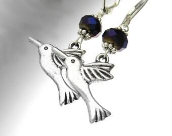Humming Bird Earrings - Sterling Silver Bird Jewelry - Hummingbird Earrings - Humming Bird Jewelry - Bird Lover Gift - Silver Animal Earring