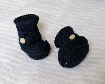 Crochet Baby Booties - 0 to 3 Months - Navy Blue