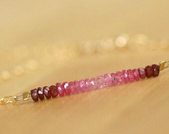 Gold ruby bracelet, July birthstone jewelry, natural ruby bracelet, genuine ruby bracelet, ombre bracelet - Freya