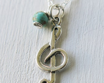 treble clef necklace, silver necklace, music necklace, silver turquoise, layering necklace, treble clef, layering necklace, gift for girls