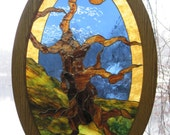 Stained Glass Gnarly Old Tree Oval Framed Panel