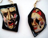 Pyrography Art Earrings -Comedy and Tragedy Theater Masks on dangles for Her