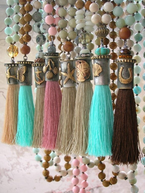 RESERVED for PRISCILLA Horseshoe knotted tassel necklace