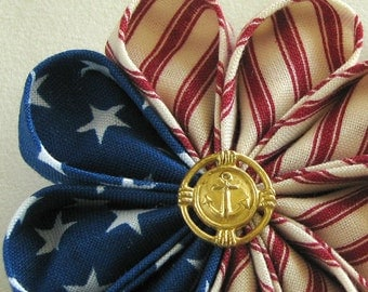Vintage Patriotic Red White and Blue Flower Pin with Gold Anchor Button - Boutonniere