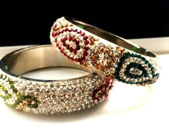 Stacking Bangle ,Diamante bracelet, Wedding Bangles Bracelet ,Bridesmaids gifts, handmade bangles,Multicolored crystal bangle HOLIDAY SALE!