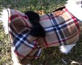 British Plaid  Fleece Ruffle Dog Jacket, Dog Coat, Dog Jackets, pet clothing