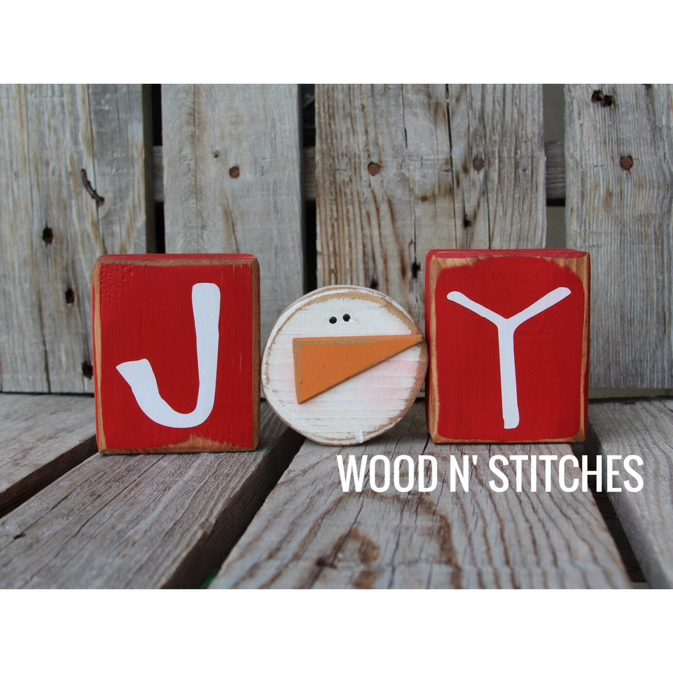 Wooden Blocks For Crafts ~ Ready to ship christmas joy snowman wood block set primitive