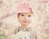 Pink Girl's Newsboy Hat with Flower, READY TO SHIP, Crochet Hats for Girls, Hat with Visor, 12 to 24 Months