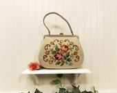 Vintage Floral Needlepoint Handbag--- Mid-Century 1960's--- Handstitched Spring Flowers---