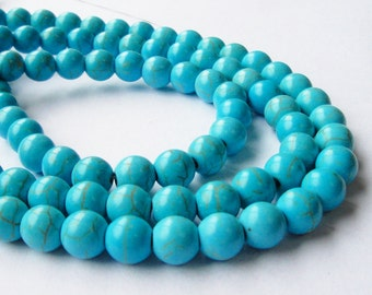"""Turquoise Round Beads - Blue Turquoise Howlite - Gemstone Round Ball Beads - Smooth Drilled -6mm OR 8mm - 16"""" Strand - DIY Jewelry Making"""