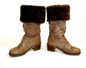 1970's LL Bean Blondo Shearling Leather Boots, Insulated Winter Boot, Made in Canada, Size 7