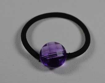 Faceted purple round resin bead, ponytail holder