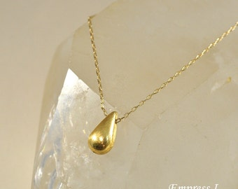 Brushed Gold Drop Necklace on Gold Chain, Simple Gold Necklace, Gold Teardrop Necklace, Petite, Delicate Jewelry, Jewelry For Women, Gift