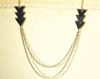 Tripple Hematite Arrowhead Statement Necklace, Textured, Antique Brass, Cable Chain, Native, Tribal, Trendy, Jewelry For Women, Arrow, Gift