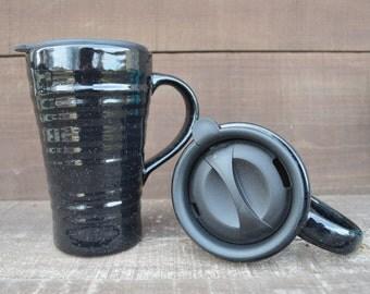 Speckled Ceramic Travel Mug with Lid - Twist Closure - Speckled Black - Night Sky