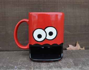 Candy Apple Red Googly Eyed Monster Ceramic Cookie and Milk Dunk Mug - Ready to ship