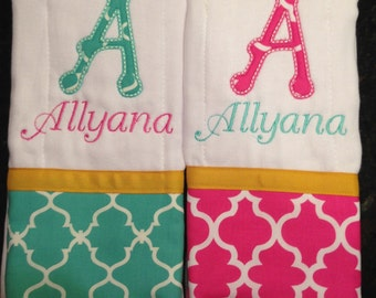 Set of 2 personalized custom monogrammed burp cloths teal pink and yellow