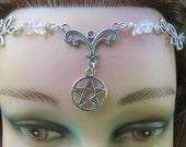 Handfasting Circlet Headpiece, Blue Topaz and Aquarmarine Crystal Tiara, Wiccan Wedding Headdress, Handfasting Circlet, Wicca, Pagan, Witch