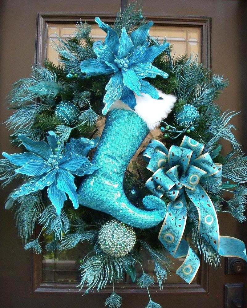 Turquoise Christmas Wreath Peacock Wreath Peacock Christmas