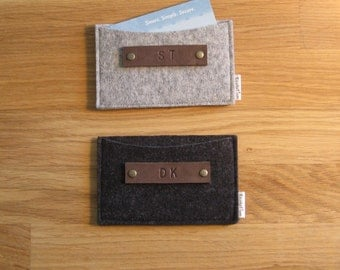 Gift set of 2 personalized monogrammed Business Card Holder-Wallet- Eco Friendly-wool felt - Handmade- Gift for man