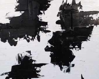 Black and White Painting Art Original Abstract Painting Black and White Oil Painting - 20x24. Modern, Industrial, Bold and Minimalist.