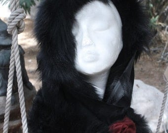 showdiva designs Oversized Toscana Shearling Hood with Sculpted Rose