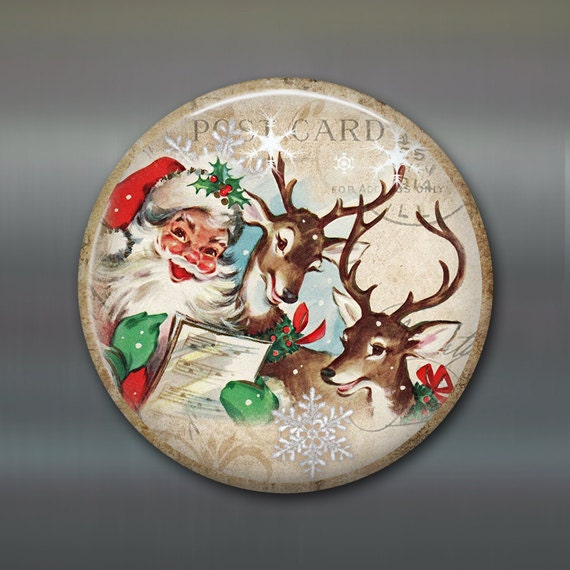 vintage christmas fridge magnet, vintage santa magnet, vintaqe reindeer christmas decoration, kitchen decor, large magnet MA-1341