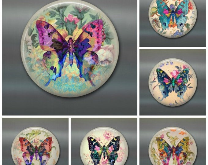 Butterfly art magnet set - butterfly decorations - butterfly gifts for her - cottage chic decor - 3.5 inch fridge magnet