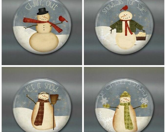 primitive snowman decoration - primitive christmas decor for the kitchen - fridge magnet for the kitchen - refrigerator magnet sets