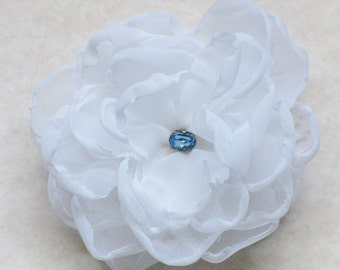 White Flower Hair Comb Bridal Blue Rhinestone Floral Fascinator Wedding Headpiece Something Blue