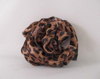 Ribbon Rose Pin-Hair Clip-Brooch-Satin-Leopard
