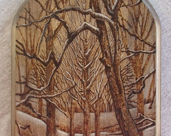 Pyrography Winter Cathedral