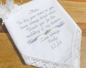 Mom Wedding Gift Embroidered Wedding Handkerchief By Canyon Embroidery