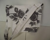 Gray and White Mini Messenger Bag- Washable