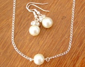 6 Single Floating Pearl Necklace and Earrings Sets -  Set of 6 Bridesmaid Pearl Necklace and Earrings Jewelry Sets