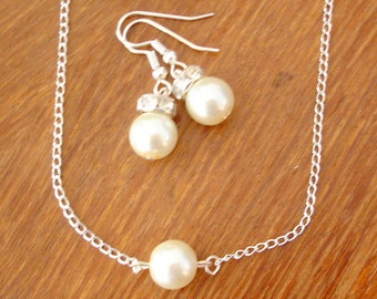 8 Single Floating Pearl Necklace and Earrings Sets -  Set of 8 Bridesmaid Pearl Necklace and Earrings Jewelry Sets