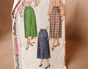 Vintage 50's Skirt Pattern, Simplicity 2624, A Line Skirt, Waist 26, Rockabilly, Mad Men Style