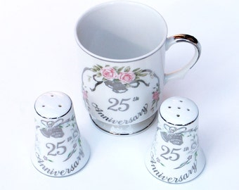 25th Anniversary Set Cup Salt and Pepper Shakers Lefton China