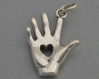 Sterling Silver 925 Charm Pendant 3D HEART IN HAND 2126