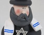 Jewish Rabbi with Menorah or Star of David Figurine sculpture